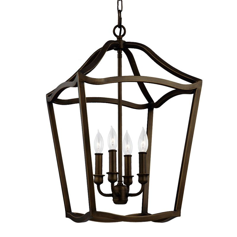 Feiss F2975/4 Yarmouth 4 Light 1 Tier Chandelier Painted Aged Brass