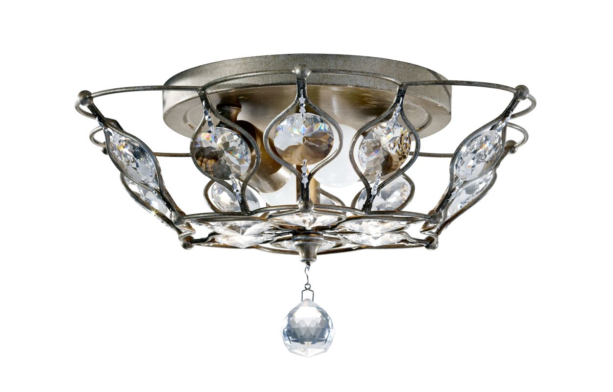 Feiss FM374 Leila 2 Light Flush Mount Ceiling Fixture Burnished Silver