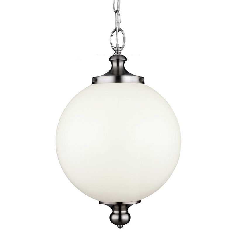 Feiss P1295 Parkman 1 Light Full Sized Pendant Brushed Steel Indoor