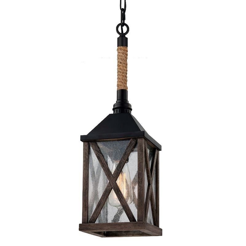 Feiss P1326 Lumiere 1 Light Lantern Pendant Dark Weathered Oak / Oil
