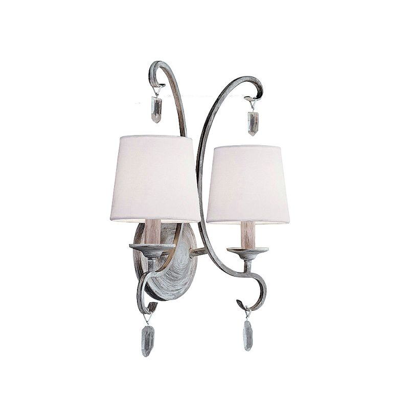 Feiss WB1721 Caprice 2 Light Reversible Double Wall Sconce Chalk