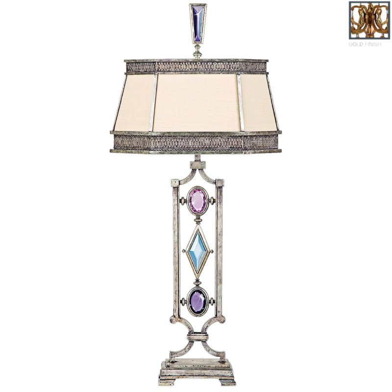 "Fine Art Lamps 730310-3ST Encased Gems Single-Light Table Lamp with Sale $2236.50 ITEM: bci2260397 ID#:730310-3ST Mounting colored gems creatively in metal is one of the oldest art forms, and survives today in the realm of jewelry. Fine Art Lamps, inspired by this grand tradition, has created jewelry for the home. Crystal gems in carefully chosen coordinating hues are mounted with a fine metal encasement and integrated into original metal lighting fixtures. All of the designs are offered in a venerable bronze patina, variegated gold leaf, or vintage silver leaf. Features: Available in Silver Leaf, Bronze Patina or Gold Leaf finish Available with Clear or Multi-Colored Crystals Multi-colored crystal colors: Bronze Finish: Amber, Brown, Emerald, Peridot and Smoky Quartz. Silver Leaf Finish: Amethyst, Aquamarine, Clear, Tourmaline and Charcoal. Gold Leaf Finish: Smoky Quartz, Brown, Carnelian, Citrine and Amber. Shade Dimensions: 14.5 x 7.5, 17.5 x 9, 9.5 Specifications: Number of Bulbs: 1 Bulb Base: Medium (E26) Bulb Included: No Watts Per Bulb: 150 Wattage: 150 Voltage: 120 Dimmable: Yes Height: 38"" Switch Type: 3-Way Fine Art Lamps® - Original lighting designs handcrafted in America and specified world-wide since 1940. :"