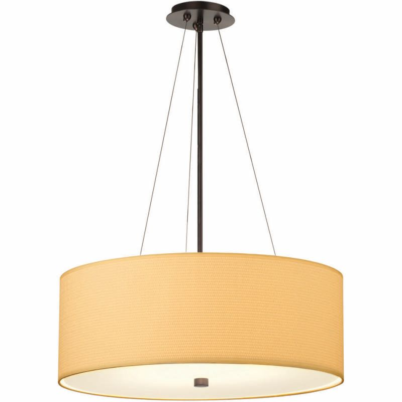 Forecast Lighting F431 White Grasscloth Drum Pendant Shade