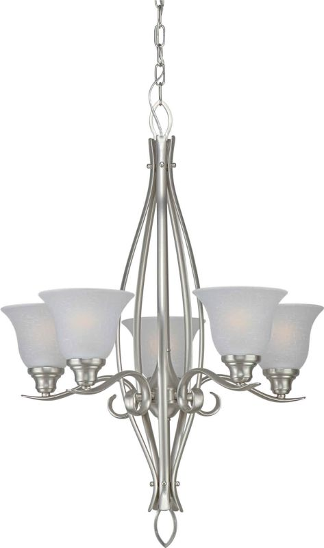 Forte Lighting 2100-05 5 Light Up Lighting Chandelier Brushed Nickel