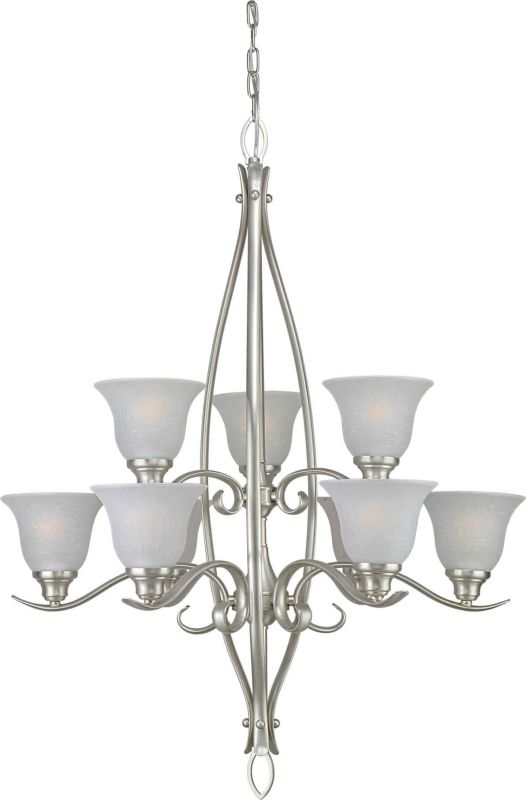 Forte Lighting 2100-09 9 Light Up Lighting Chandelier Brushed Nickel