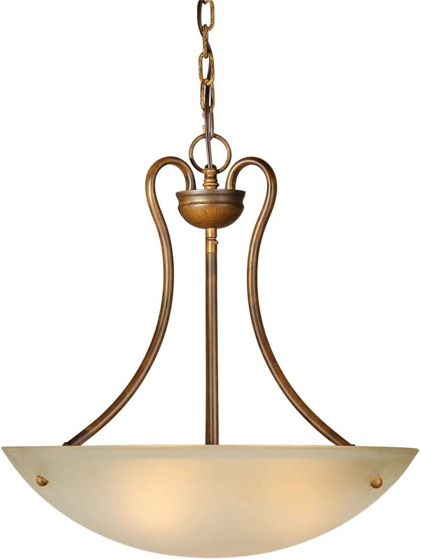 Forte Lighting 2166-03 20Wx20H Bowl Pendant Rustic Sienna Indoor