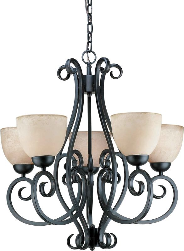 Forte Lighting 2250-05 5 Light Up Lighting Chandelier Bordeaux Indoor