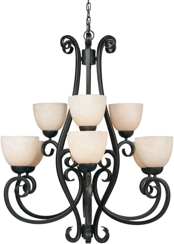 Forte Lighting 2250-09 3 Light Up Lighting Chandelier Bordeaux Indoor