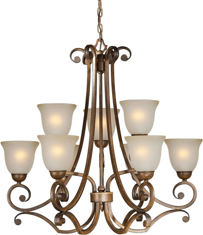 Forte Lighting 2271-09 30Wx31H 9 Light Chandelier Rustic Sienna Indoor