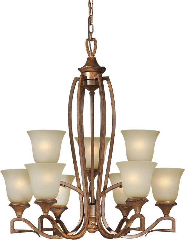 Forte Lighting 2283-09 28Wx31H 9 Light Chandelier Rustic Sienna Indoor