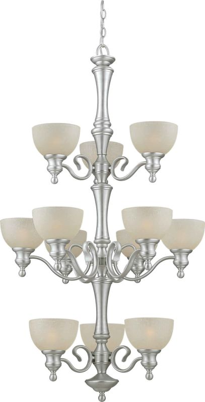 Forte Lighting 2341-12 12 Light Up Lighting Chandelier Brushed Nickel