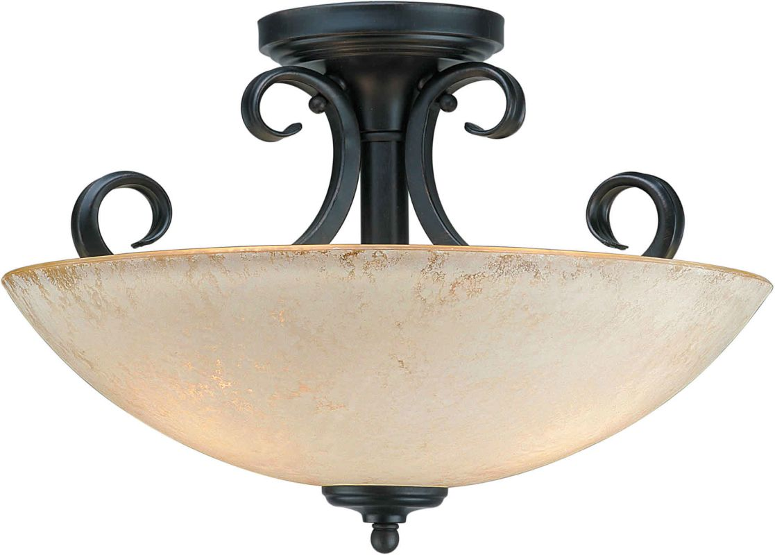 Forte Lighting 2350-03 Semi-Flush Ceiling Fixture Bordeaux Indoor