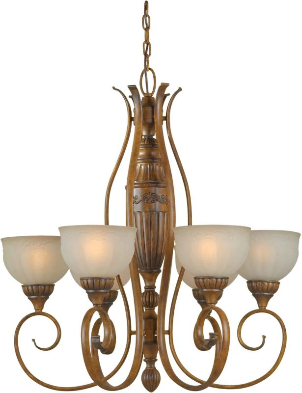 Forte Lighting 2380-06 28Wx30H 6 Light Chandelier Rustic Sienna Indoor