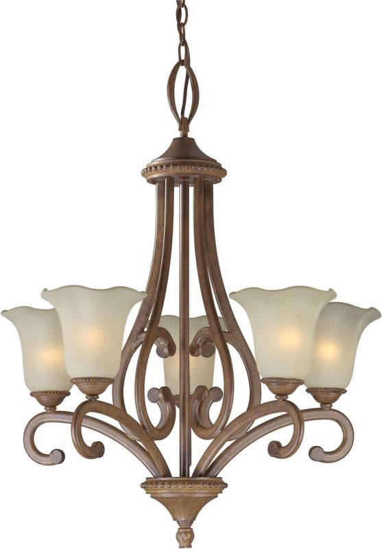 Forte Lighting 2387-05 24.5Wx30H 5 Light Chandelier Rustic Sienna