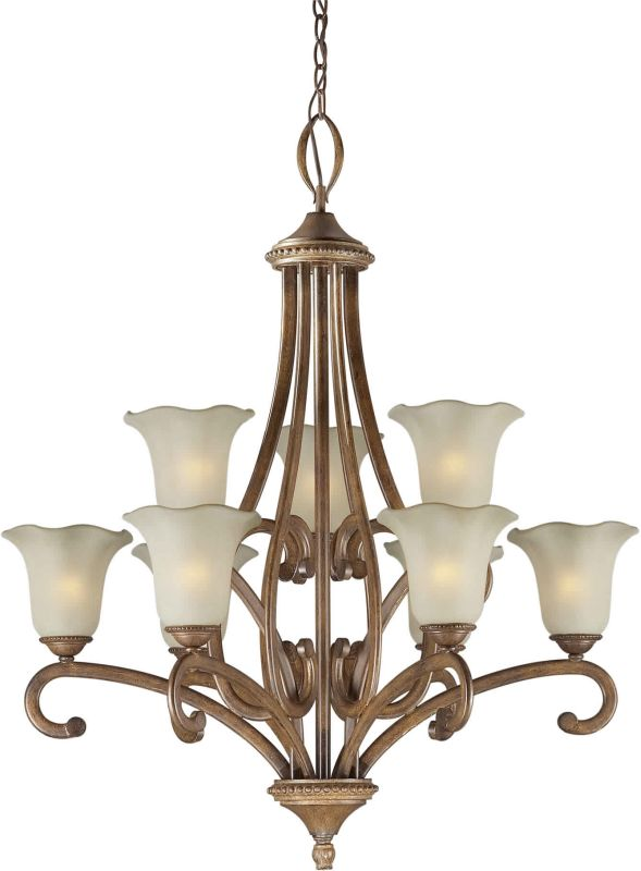 Forte Lighting 2387-09 33Wx37H 9 Light Chandelier Rustic Sienna Indoor