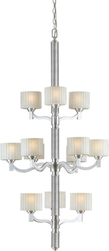 Forte Lighting 2388-12 28Wx56H 12 Light Chandelier Brushed Nickel