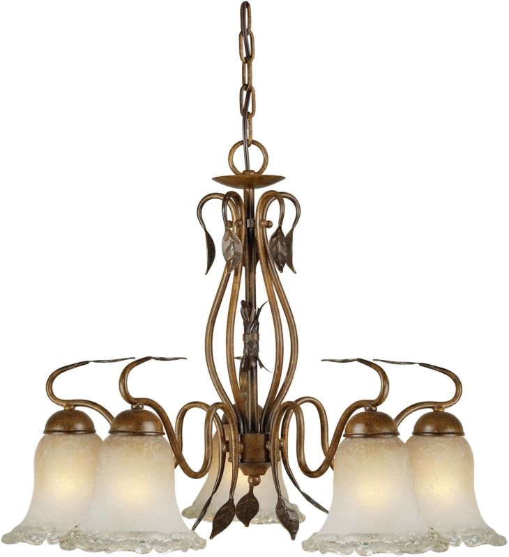 Forte Lighting 2420-05 24Wx19H 5 Light Chandelier Rustic Sienna Indoor