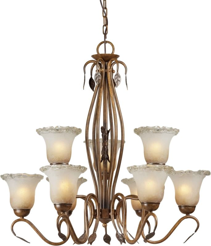 Forte Lighting 2420-09 30Wx30H 9 Light 2 Tier Chandelier Rustic Sienna