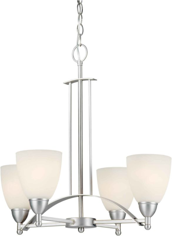 Forte Lighting 2423-04 22Wx22H 4 Sigle Tier Light Chandelier Brushed