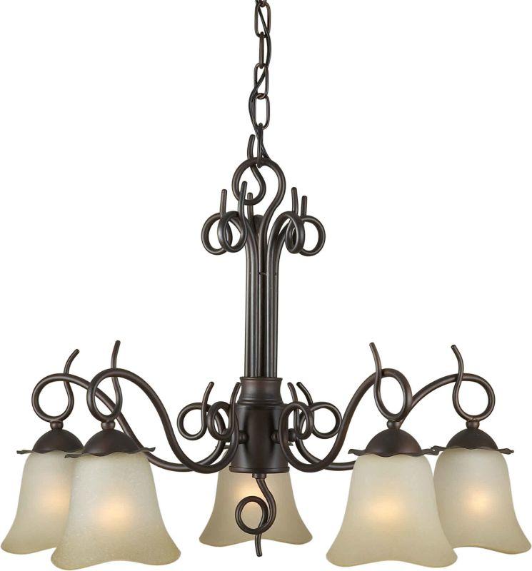 Forte Lighting 2463-05 24Wx18.5H 5 Light Chandelier Antique Bronze