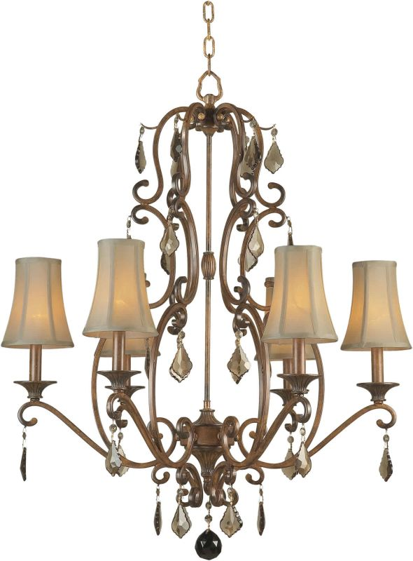 Forte Lighting 2484-06 28Wx32H 6 Light Chandelier Rustic Sienna Indoor