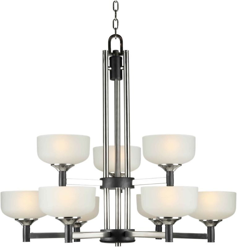 Forte Lighting 2520-09 32Wx32H 9 Light Chandelier Black/Brushed Nickel