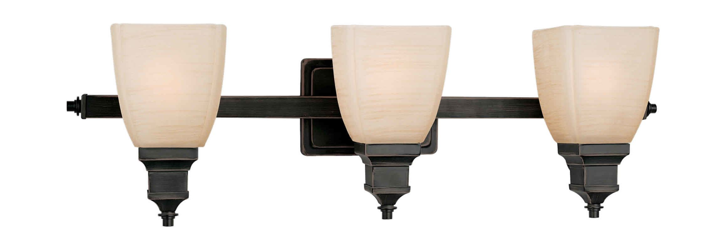 "Forte Lighting 5057-03 3 Light 27.5"" Wide Bathroom Fixture Bordeaux"