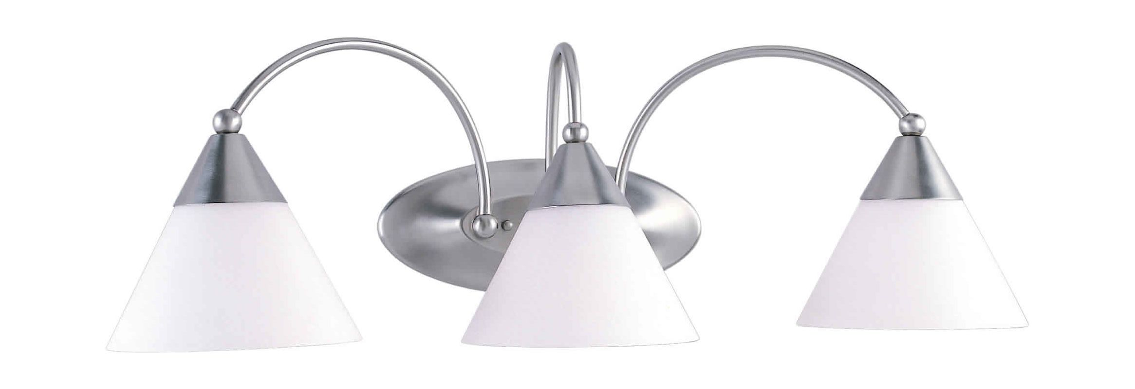 "Forte Lighting 5167-03 3 Light 25.5"" Wide Bathroom Fixture Brushed"