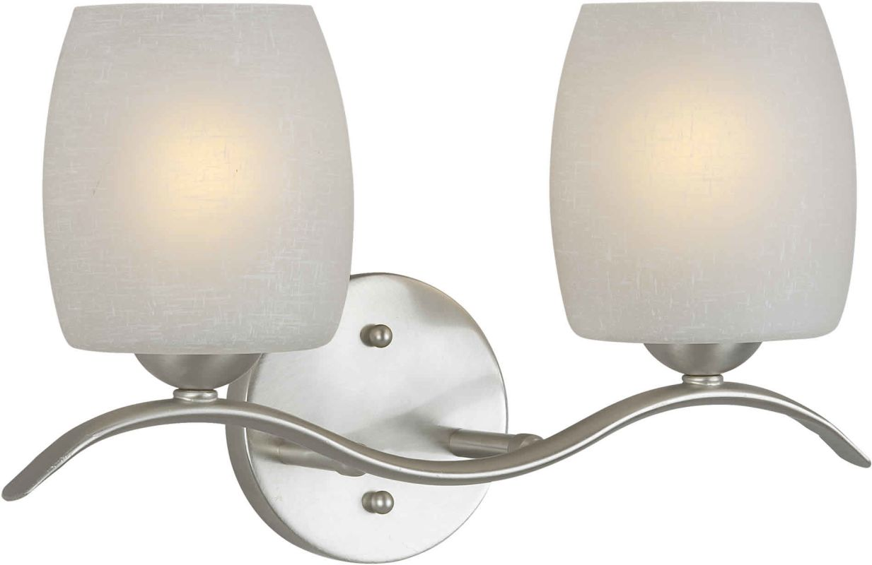 "Forte Lighting 5251-02 2 Light 15"" Wide Bathroom Fixture Brushed"