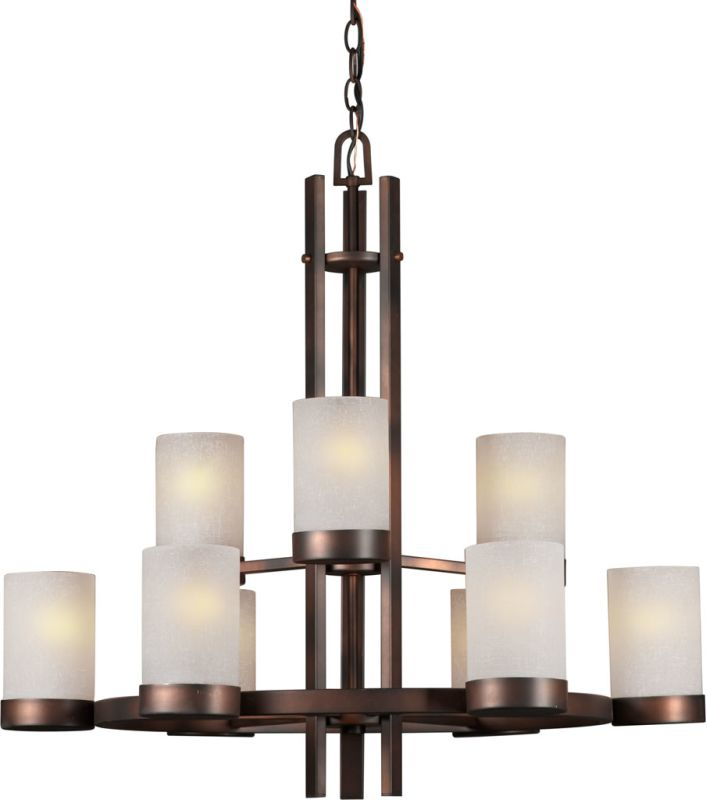 Forte Lighting 2548-09 9 Light 2 Tier Chandelier with Cylinder Shaped