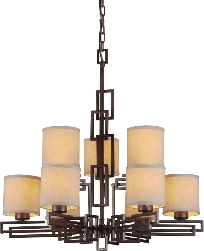 Forte Lighting 2550-09 9 Light 2 Tier Chandelier with Cylinder Shaped
