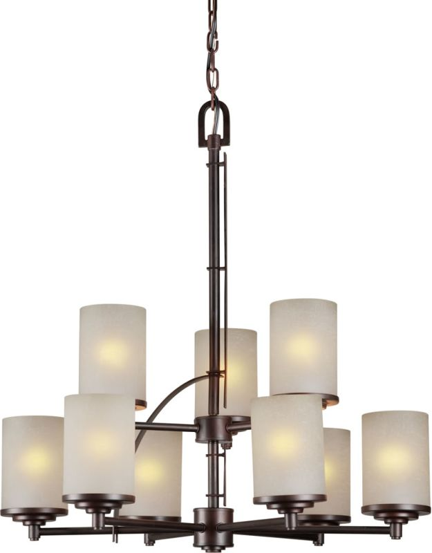 Forte Lighting 2554-09 9 Light 2 Tier Chandelier with Drum Shaped