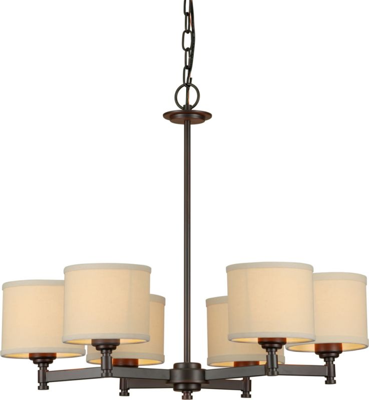 Forte Lighting 7026-06 6 Light 1 Tier Chandelier with Drum Shaped