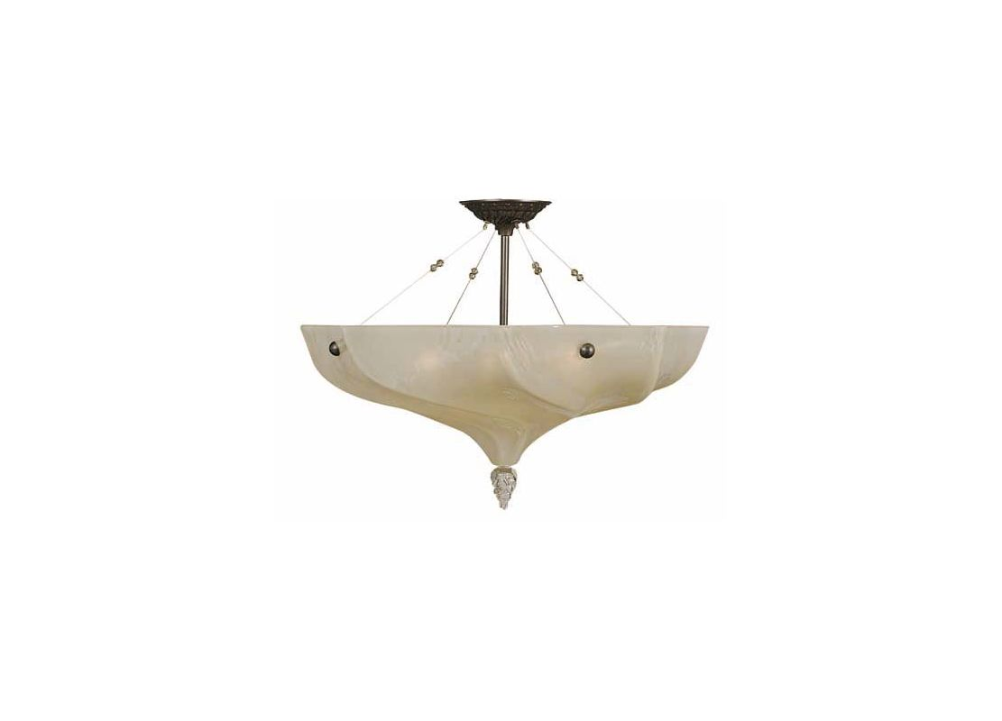 Framburg 3473 Giselle Four Light Semi-Flush Ceiling Fixture with Glass