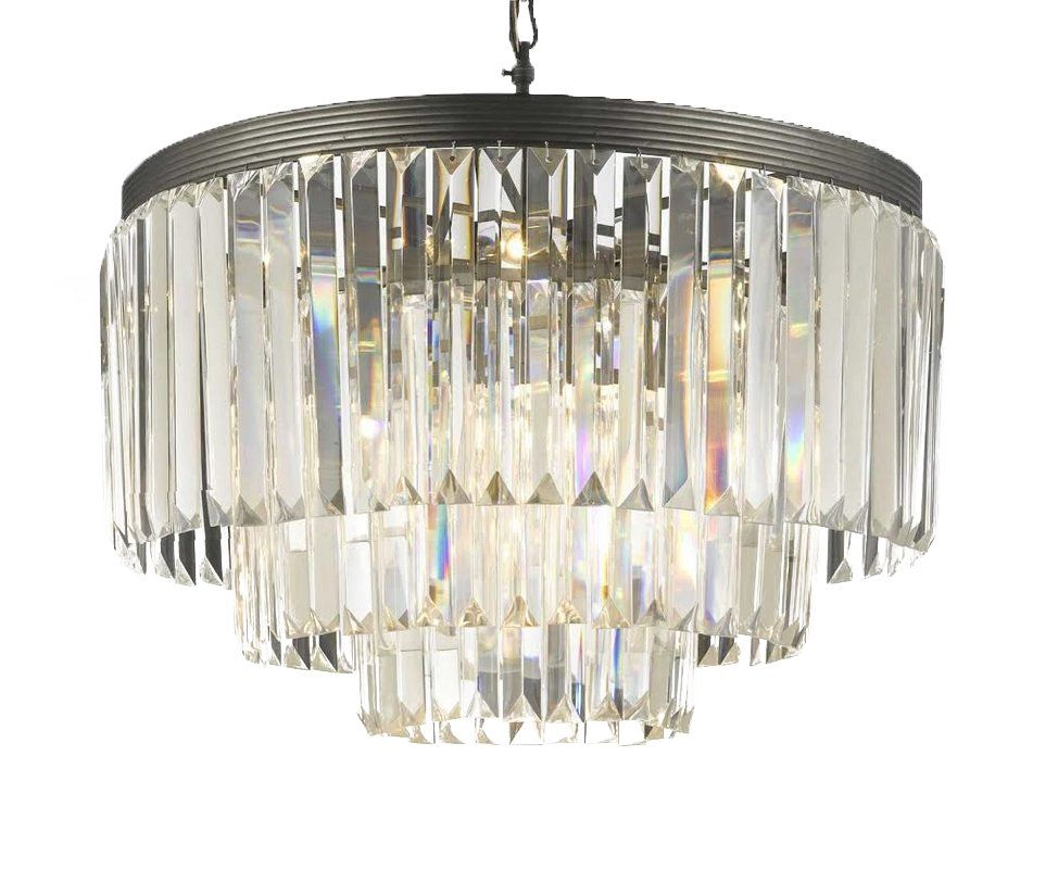 Gallery T40-350 Odeon 9 Light 3 Tier Crystal Chandelier with Clear