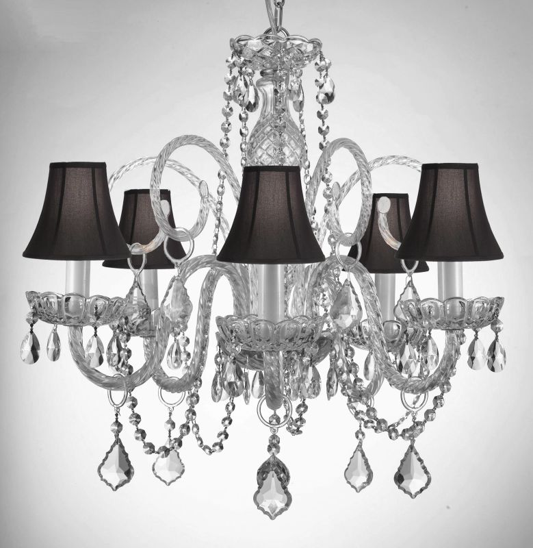 Gallery 385-5-SC 5 Light 1 Tier Murano Venetian Style Crystal Accented