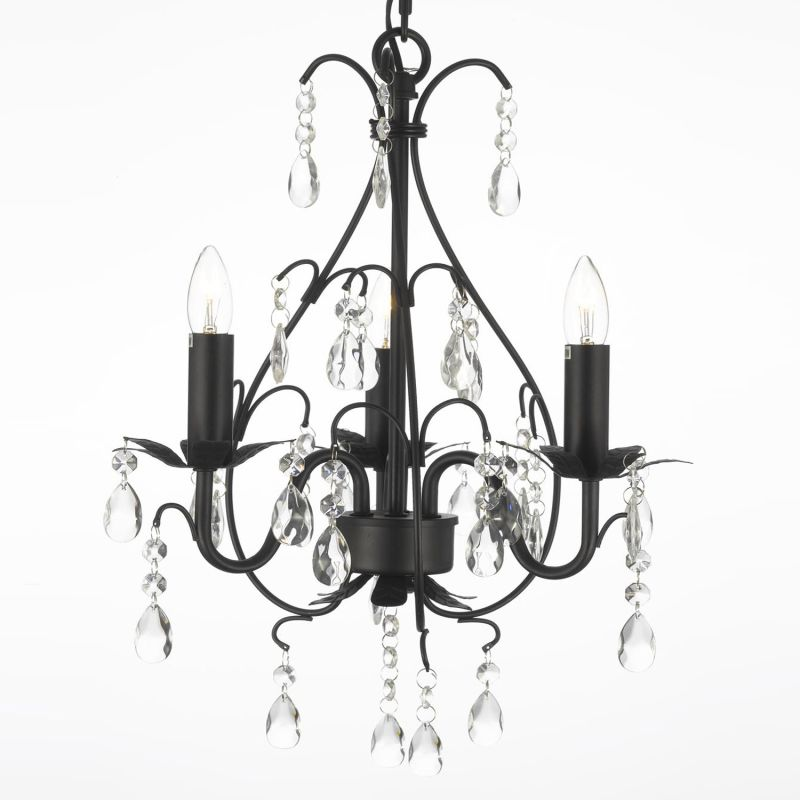 Gallery 591-3 3 Light 1 Tier Wrought Iron and Crystal Chandelier Black