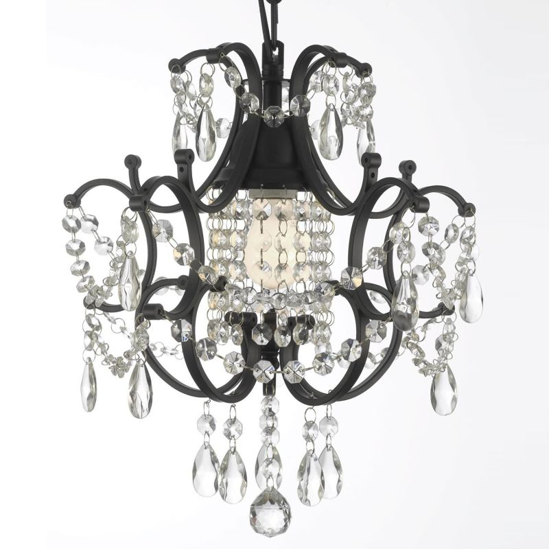 Gallery 592-1 1 Light 1 Tier Wrought Iron and Crystal Chandelier Black