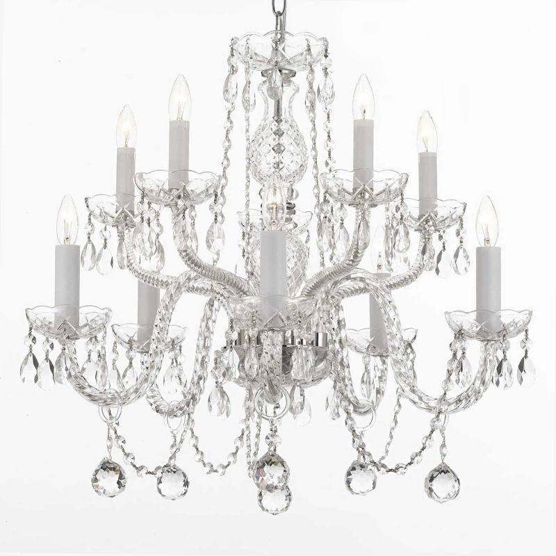 Gallery T40-528 10 Light 2 Tier Crystal Chandelier Silver Indoor Sale $216.00 ITEM: bci2673425 ID#:T40-528 UPC: 881314662951 :