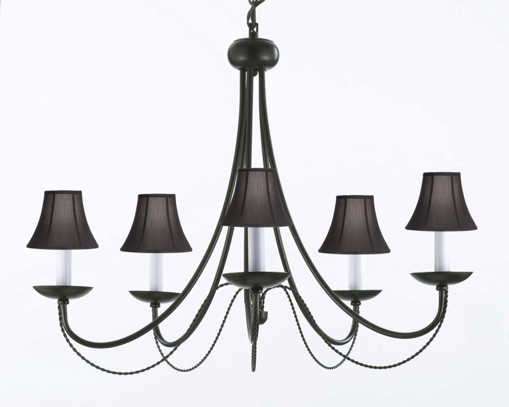 Gallery T40-580 5 Light 1 Tier Chandelier with Black Tapered Shade Sale $135.00 ITEM: bci2673418 ID#:T40-580 UPC: 791102615734 :