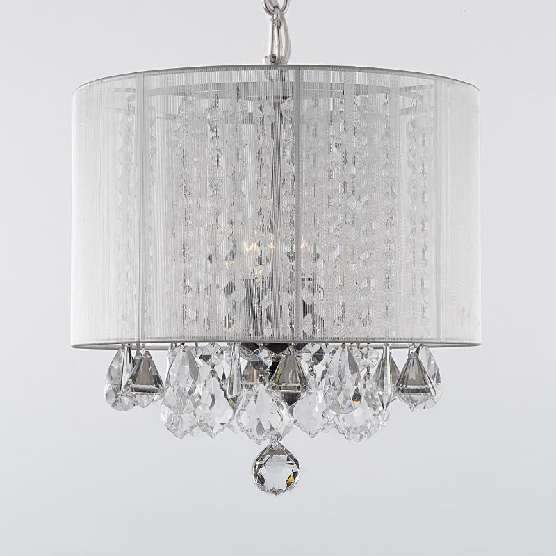 Gallery SM604-3 3 Light 1 Tier Crystal Chandelier with Shade White Sale $145.37 ITEM: bci2281375 ID#:sm/604/3 wht UPC: 804879448006 :