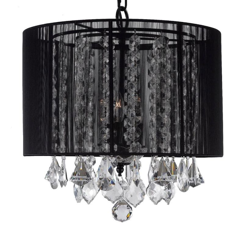 Gallery SM604-3 3 Light 1 Tier Crystal Chandelier with Shade Black