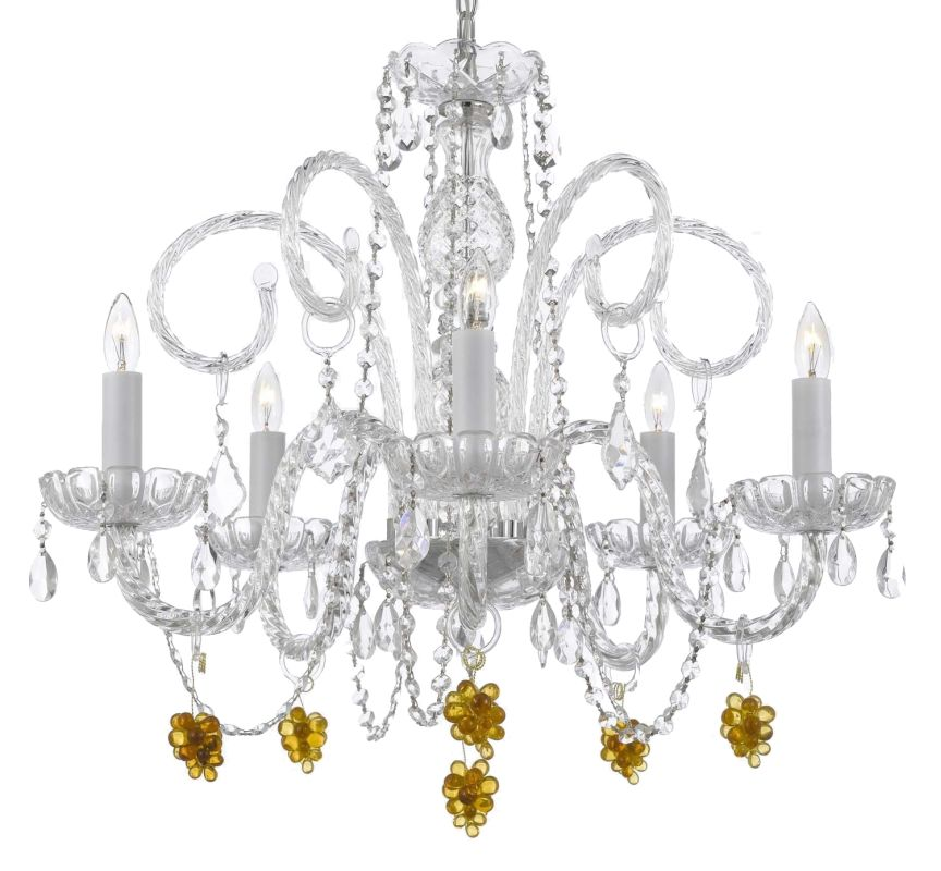 "Gallery T22-1049 5 Light 24"" Wide Single Tier Chandelier with Crystal"