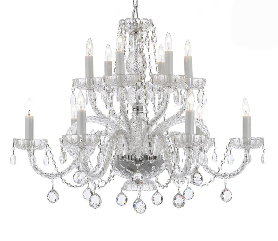 "Gallery T22-1058 12 Light 24"" Wide 2 Tier Chandelier with Crystal"