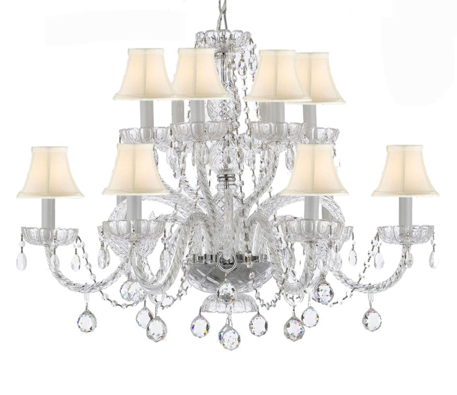 """Gallery T22-1061 12 Light 32"""" Wide 2 Tier Chandelier with Crystal"""