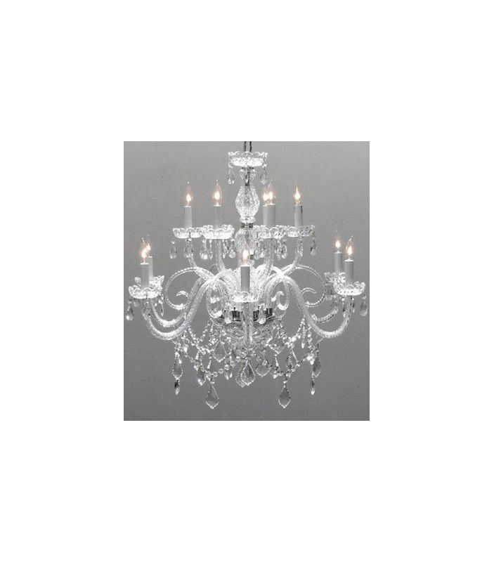 "Gallery T22-1509 12 Light 32"" Wide 2 Tier Chandelier with Crystal"