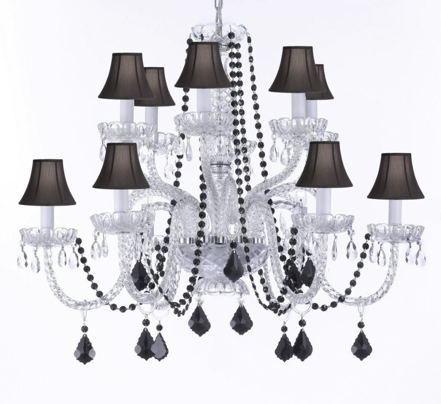 "Gallery T22-1511 12 Light 32"" Wide 2 Tier Chandelier with Crystal"
