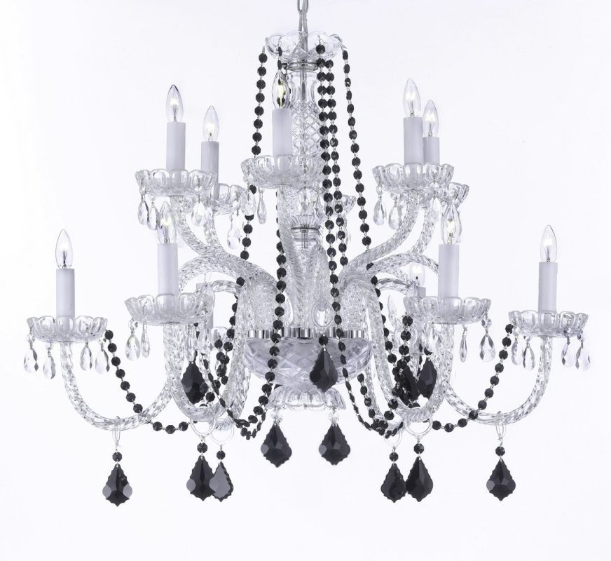 "Gallery T22-1512 12 Light 32"" Wide 2 Tier Chandelier with Crystal"