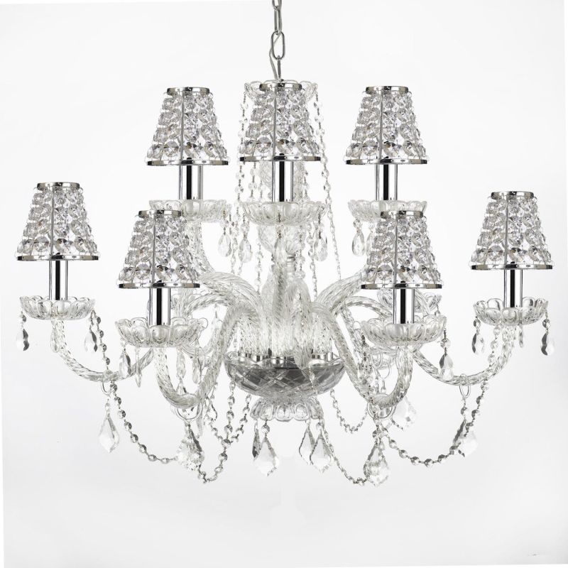"Gallery T22-1516 12 Light 32"" Wide 2 Tier Chandelier with Crystal"