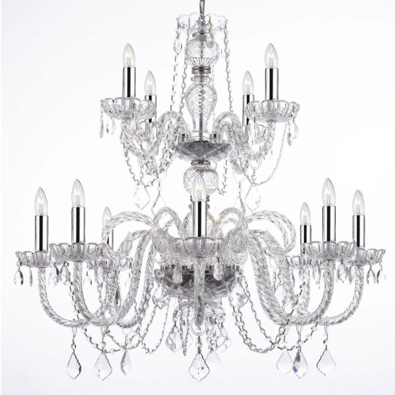 "Gallery T22-1519 12 Light 28"" Wide 2 Tier Chandelier with Crystal"